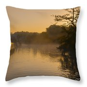 Misty Morning On The Grand Union Canal Throw Pillow
