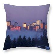 Misty Skyline, Edmonton, Alberta, Canada Throw Pillow