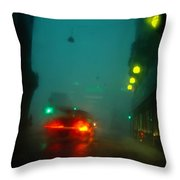 Misty View Of Car Lights On A City Throw Pillow