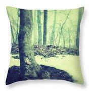 Misty Winter Woods Throw Pillow