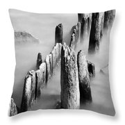 Misty Wooden Posts Throw Pillow