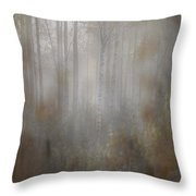 Misty Woods In Autumn Throw Pillow