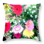 Mixed Asters Throw Pillow
