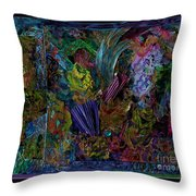 Mixed Media In Blues Throw Pillow