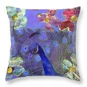 Mixed Media Peacock Art - Gipsy Rondo Throw Pillow