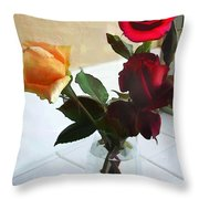 Mixed Roses In Crystal Vase Throw Pillow