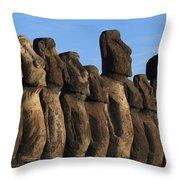 Moai Along The Coast Of Easter Island Throw Pillow