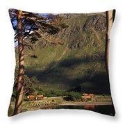 Mobile Homes At A Lakeside In Front Of Throw Pillow