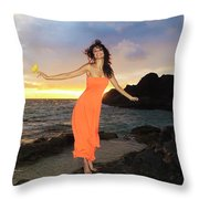 Model In Orange Dress II Throw Pillow