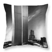 Model Of World Trade Center Throw Pillow