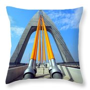 Modern Cable-stayed Bridge Throw Pillow