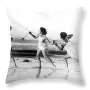 Modern Dance On The Beach Throw Pillow