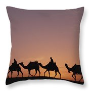 Modern Egyptians Riding Domesticated Throw Pillow