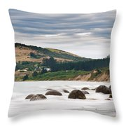 Moeraki Boulder East Coast Of South New Zealand   Throw Pillow