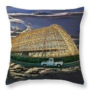 Moffett Field Hangar One And Truck Throw Pillow
