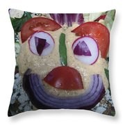 Mohawk Salad Face Throw Pillow