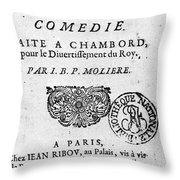Moliere (1622-1773) Throw Pillow