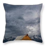 Molton Barn And Approaching Storm Throw Pillow