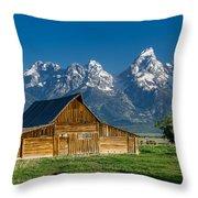 Molton Barn And Grand Tetons Throw Pillow