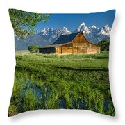 Molton Barn And Trees Throw Pillow