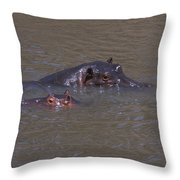 Mom And Baby In The Mara River Throw Pillow