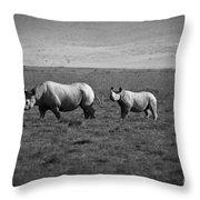 Mom And Child Black Rhinos Throw Pillow