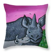 Momma And Baby Rhino Throw Pillow