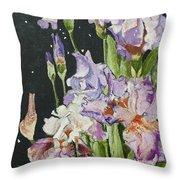 Mom's Night Iris Throw Pillow