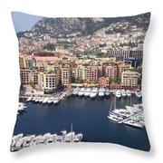 Monaco Harbour Throw Pillow
