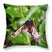 Monarch Butterfly In Flight Throw Pillow