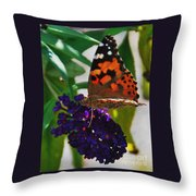 Monarch On A Black Knight Butterfly Flower Throw Pillow