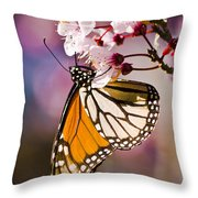 Monarch On A Flower Throw Pillow