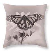 Monarch On Sunflower Throw Pillow