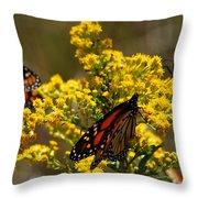 Monarchs On Yellow Throw Pillow