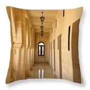 Monastery Passageway Throw Pillow