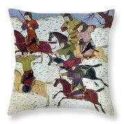 Mongol Battle, C1400 Throw Pillow