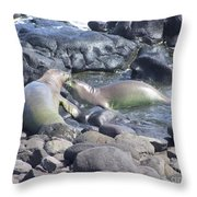 Monk Seals Throw Pillow