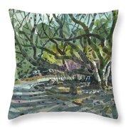 Monk Trees Two Throw Pillow