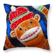 Monkey Sock Around Throw Pillow