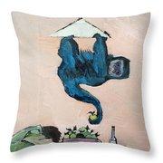 Monkey Stealing An Apple Throw Pillow