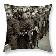 Monks In The Monastery Throw Pillow