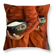 Monks With Rice Bowls, Inle Lake Throw Pillow