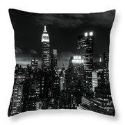 Monochrome City Throw Pillow