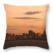 Montevideo Skyline At Sunrise Throw Pillow