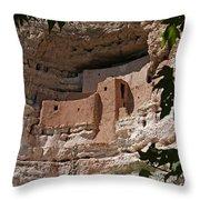 Montezuma Castle Cliff Dwellings In The Verde Valley Of Arizona Throw Pillow