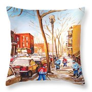 Montreal Street With Six Boys Playing Hockey Throw Pillow