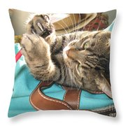Monty Holding Paintbrush .. Throw Pillow