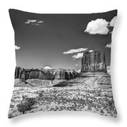 Monument Valley In Monochrome  Throw Pillow