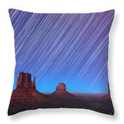 Monument Valley Star Trails  Throw Pillow by Jane Rix