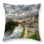 Moody Sunset At The Boat Inn Throw Pillow